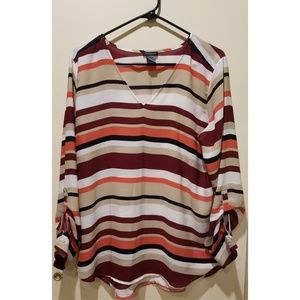 Ann Taylor Mixed Media Stripped Blouse